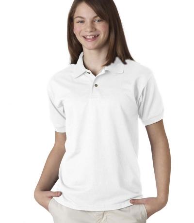 GIB 8800 - Gildan fehér galléros gyerek póló